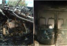 Photo of foto | N-a mai rămas decât carcasa. Un microbuz de pe ruta Tiraspol-Copanca, făcut scrum în această dimineață