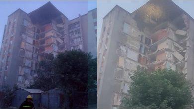 Photo of foto, video | UPDATE: O parte a unui bloc cu 9 etaje din Otaci s-a prăbușit. Pompierii au verificat dacă nu sunt oameni sub dărâmături