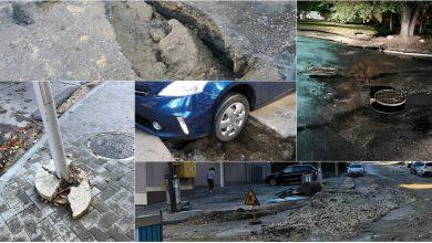 Photo of foto | Gropi în asfalt, copaci doborâți și semne rutiere căzute. Ploaia a făcut din nou ravagii în capitală, iar autoritățile îndeamnă cetățenii să fie prudenți