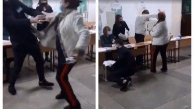 Photo of video | O femeie agresivă a sărit la bătaie la angajații unei secții de votare. Ar fi fost beată