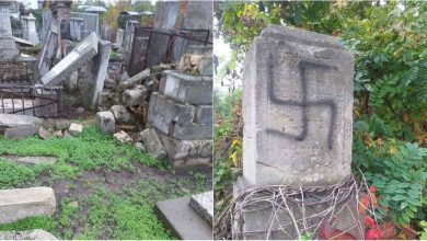 Photo of foto | Au distrus monumente și au desenat svastica. Persoane necunoscute au vandalizat mai multe morminte la cimitirul evreiesc din sectorul Buiucani al capitalei