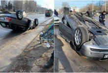 Photo of foto | O șoferiță s-a răsturnat cu BMW-ul la Botanica. La bord se aflau doi copii