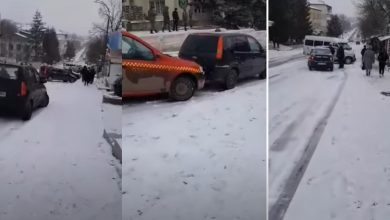 Photo of video | Carambol la Hîncești: Mai multe automobile s-au tamponat din cauza gheții, ninsorii și șoferilor nedisciplinați
