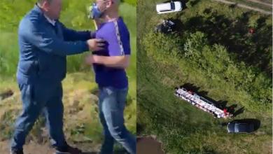 """Photo of video   """"Proști făcuți cu degetul"""". Un deputat a îmbrâncit jurnaliștii care au întrerupt un ospăț al socialiștilor la iazul din Brăviceni"""