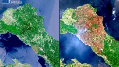 Photo of Înainte și după incendii: Imagini incredibile din satelit cu insula grecească Evia